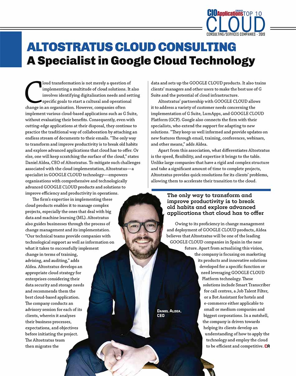 "Altostratus elegida ""Top 10 cloud consulting companies – 2019"""